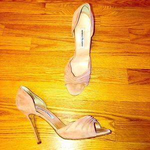 Manolo Blahnik Suede Pink Sandal